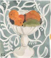 © Kate Schelter LLC 2018 | Oranges in White Pedestal Bow blue pattern, by Kate Schelter